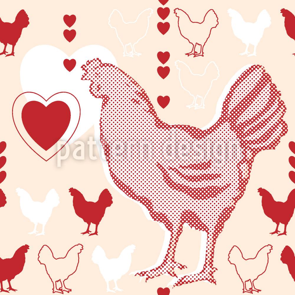 Designtapete Hühner Mit Herz