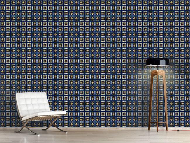 Designtapete Kacheln In Blau Und Gold