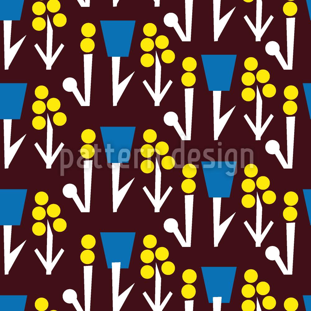 Designtapete Blumenfantasie Auf Braun