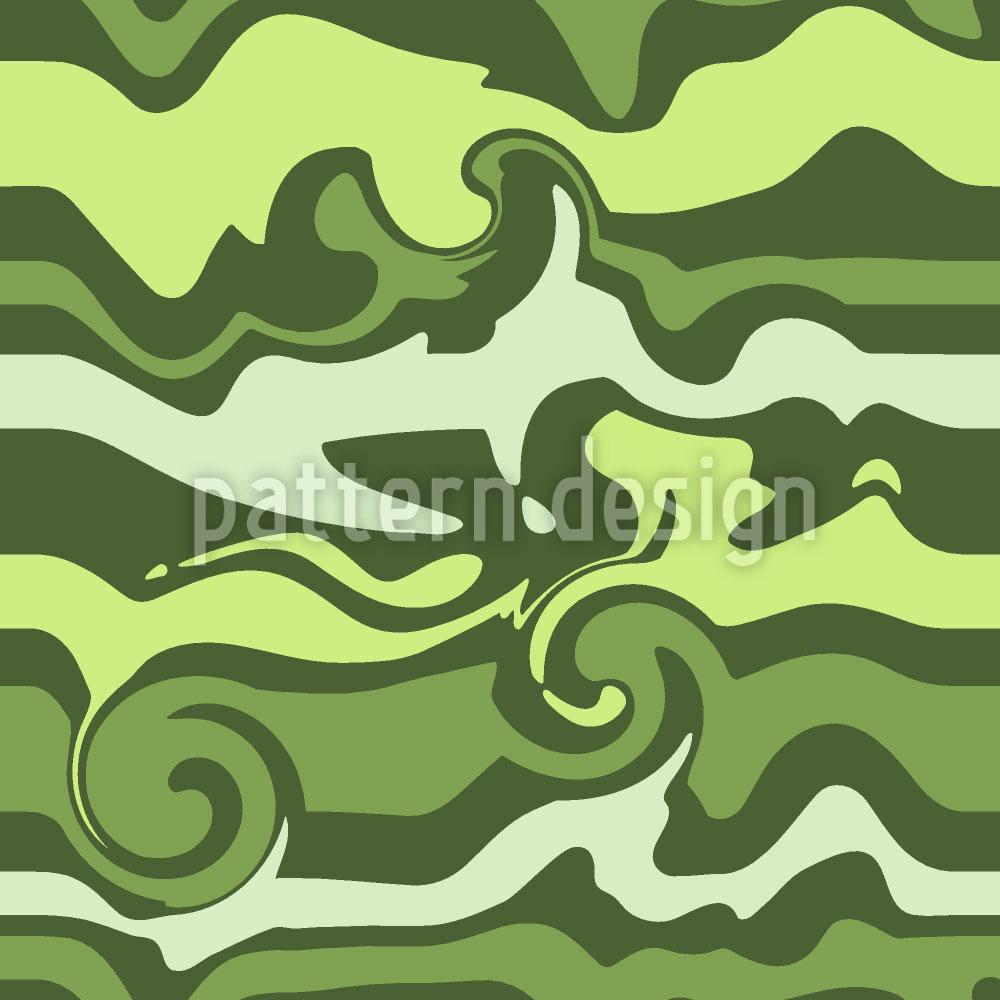 Designtapete Grünes Wellenchaos