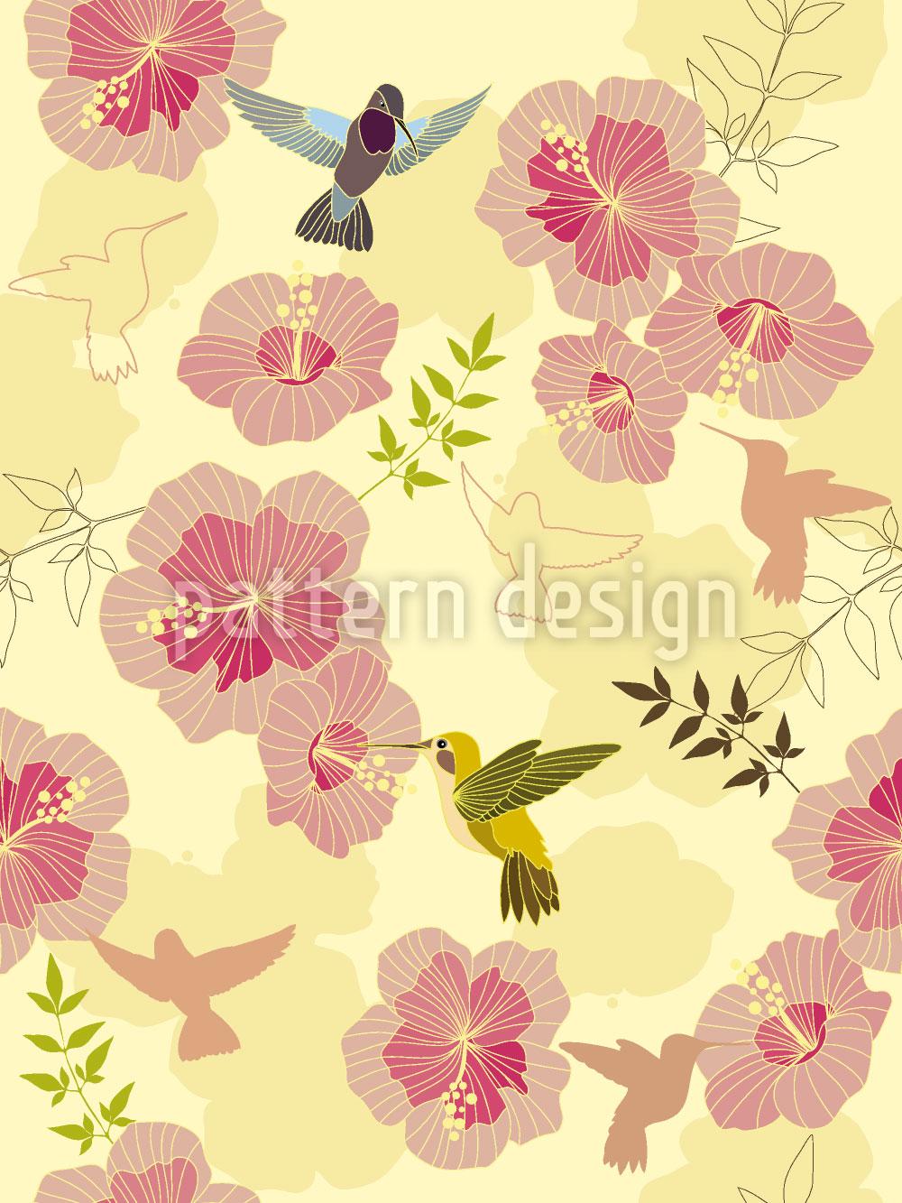 Designtapete Kolibris Schmecken Hibiskus
