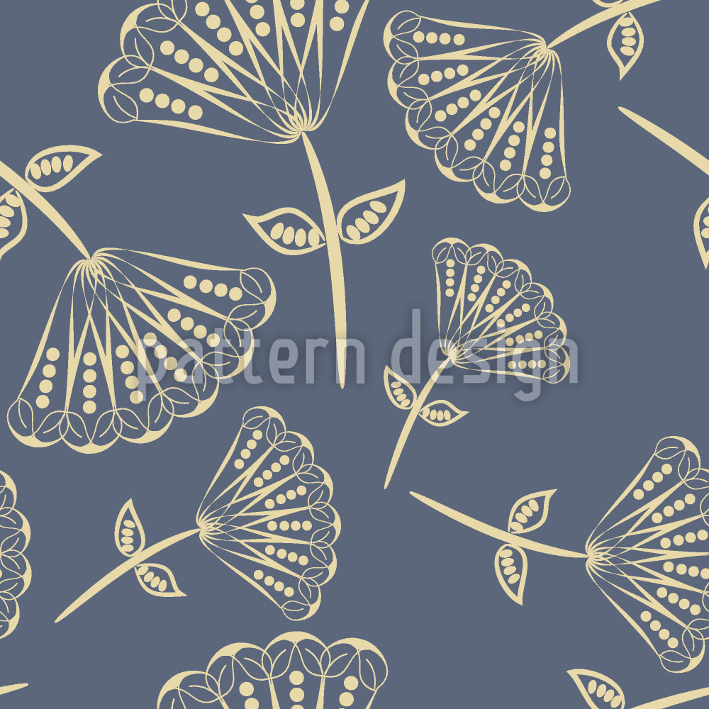 Designtapete Fächerblumen Auf Blaupause