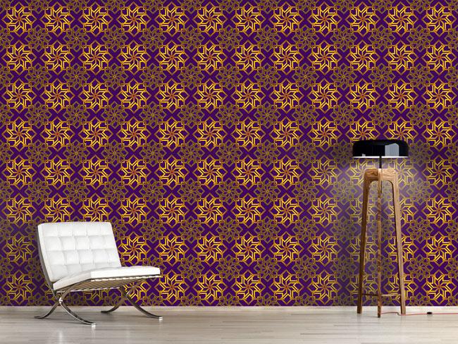 Designtapete Sternengold Auf Violett
