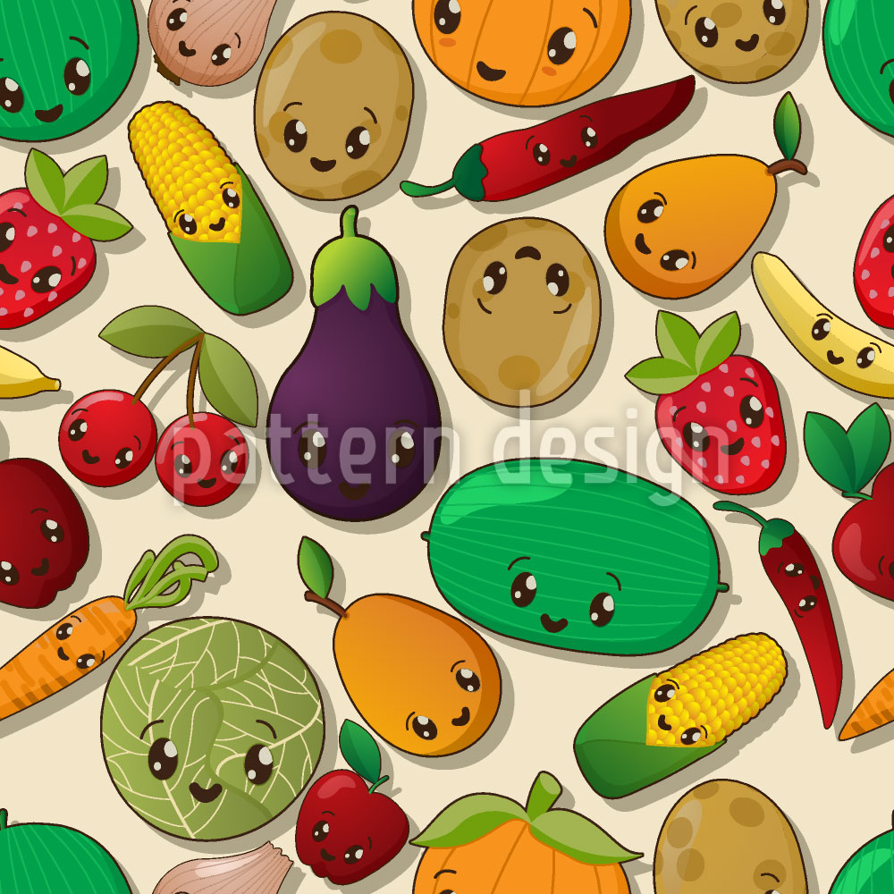 Designtapete Kawaii Veggies