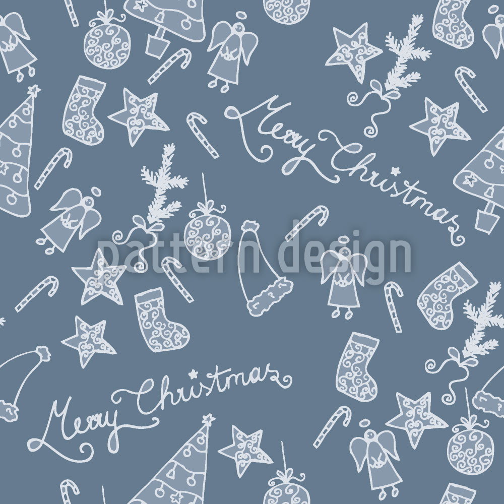Designtapete Frohe Weihnachten In Blau
