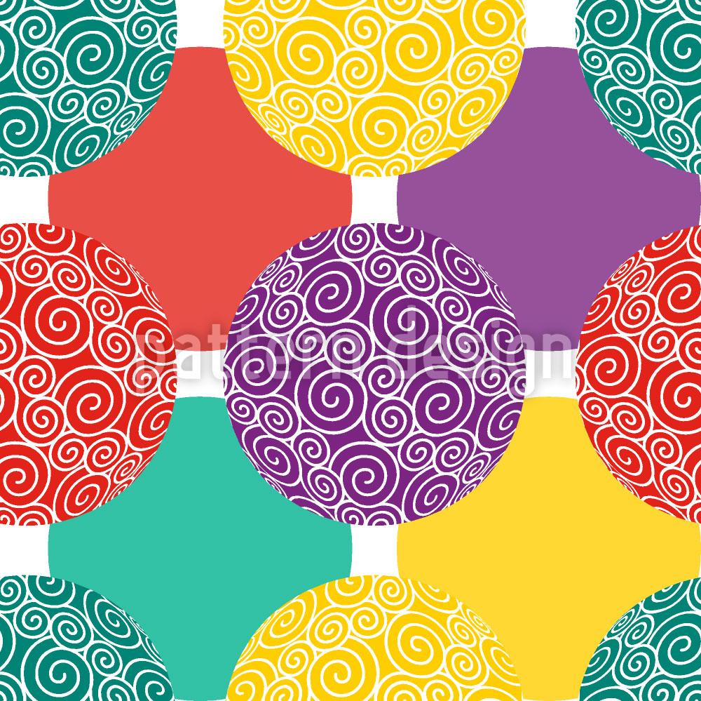 Designtapete Spiralkugeln Kunterbunt