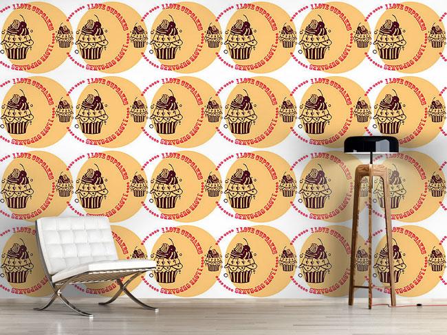 Designtapete Cupcake Love Cream