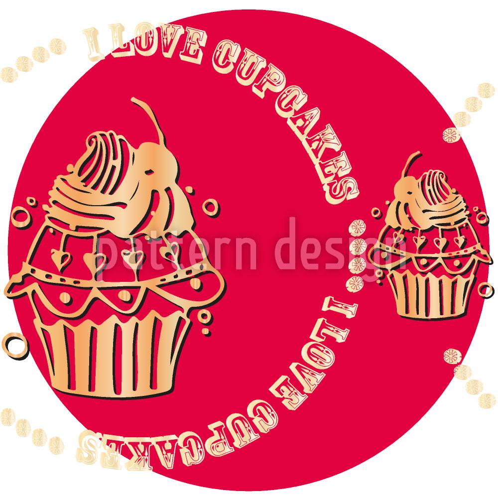 Designtapete Cupcake Love Pink