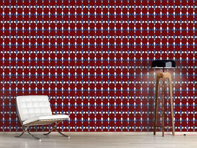 Designtapete Fleurs De Lis Rouge