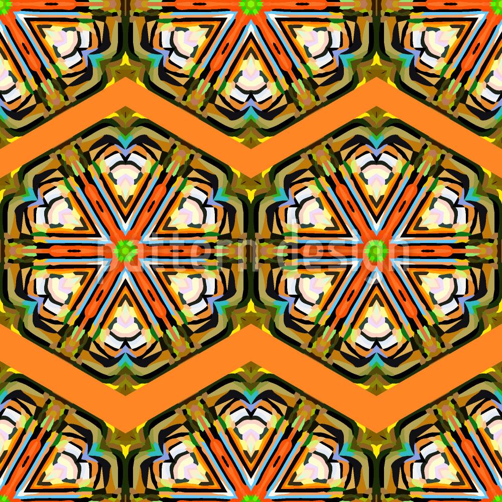 Designtapete Kaleidoskop Zickzack Braun