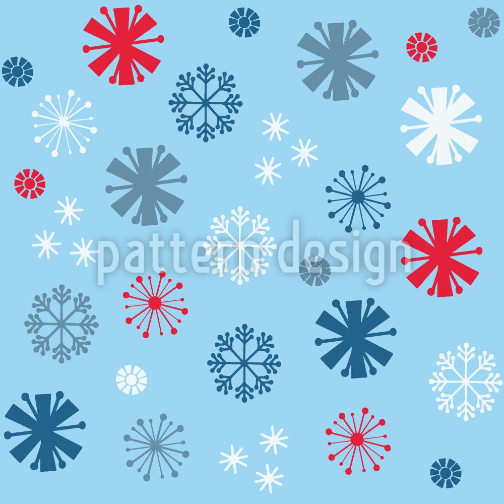 Designtapete Schneeflöckchen Blues
