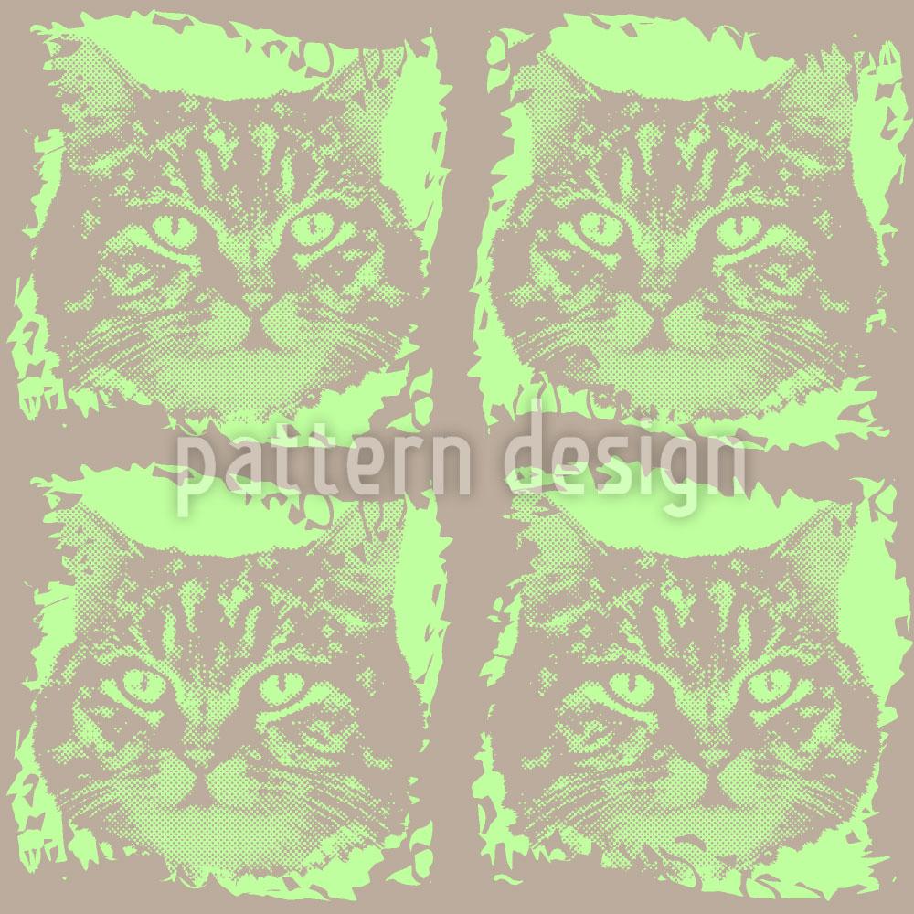 Designtapete Katze Minka Grün