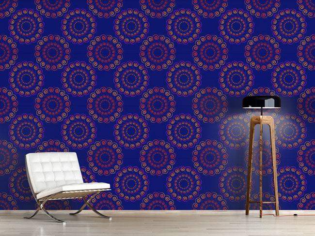 Designtapete Swirly Blue