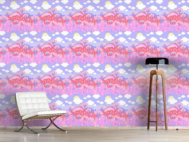 Designtapete Regenbogen Wunderland Rosarot