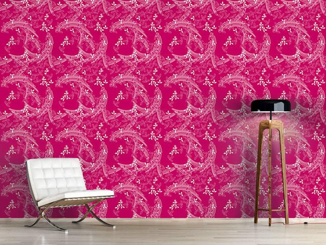 Designtapete Buschklee Asia Pink