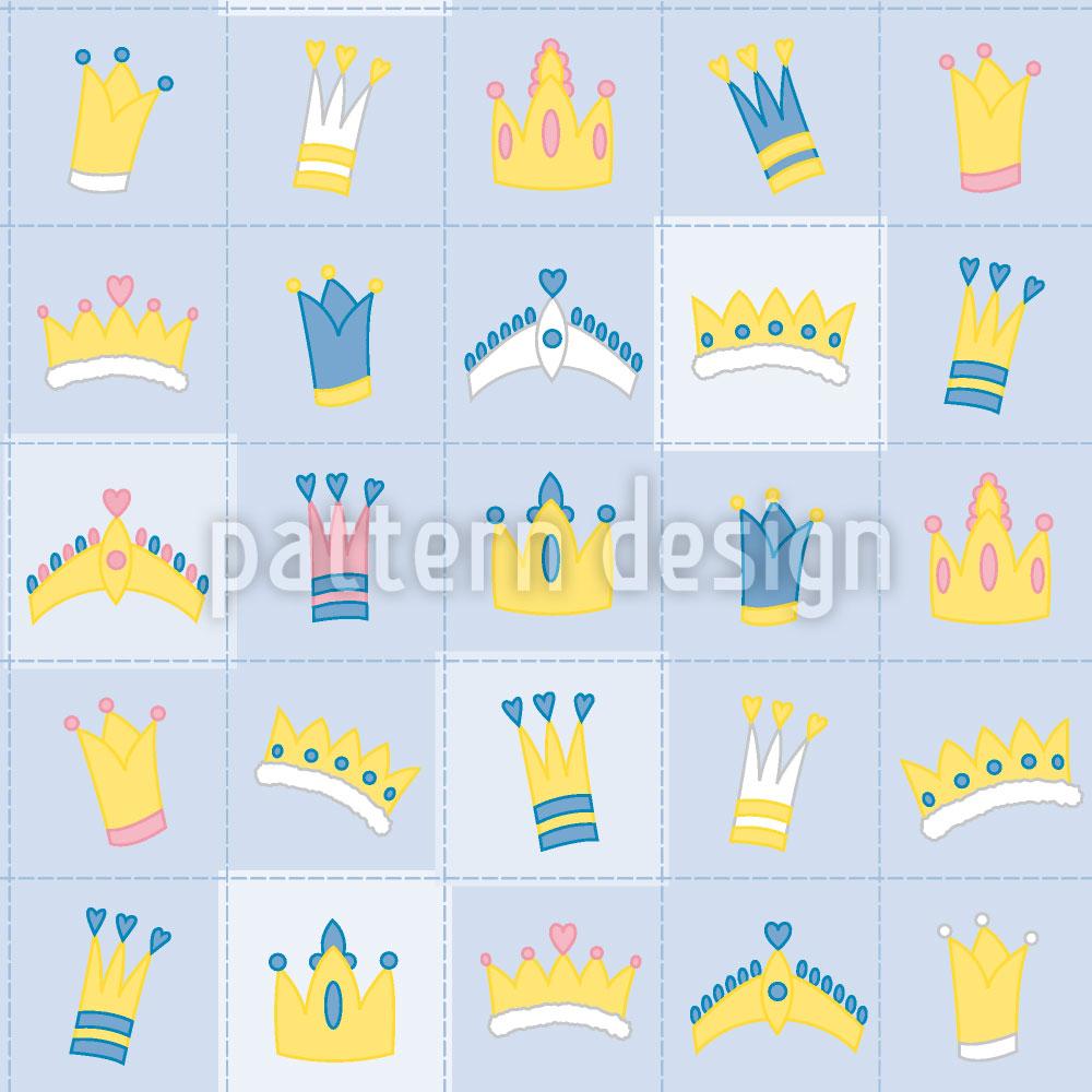 Designtapete Königskrönchen Blau