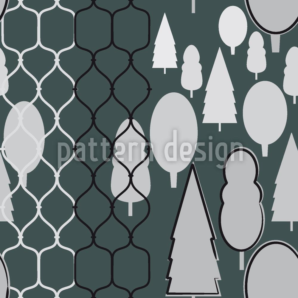 Designtapete Zaunwald Monochrom