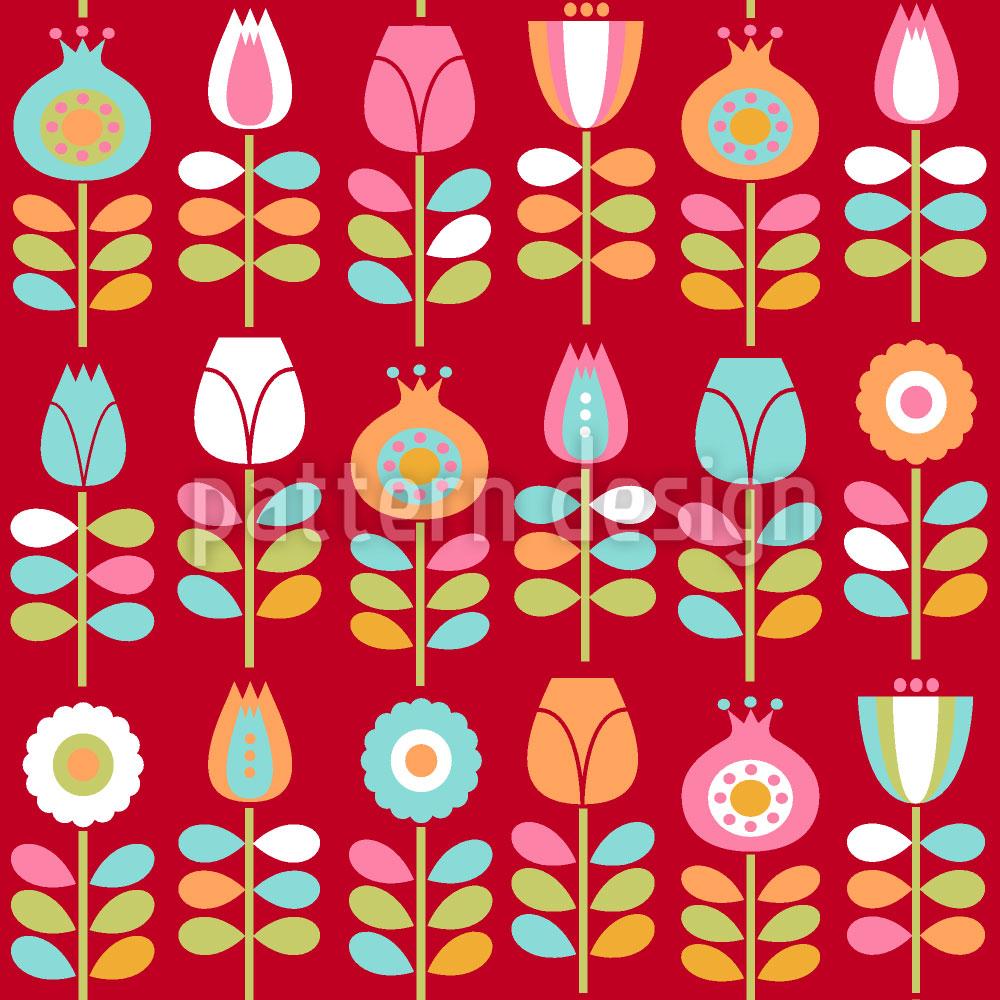 Designtapete Blumen Der Siebziger