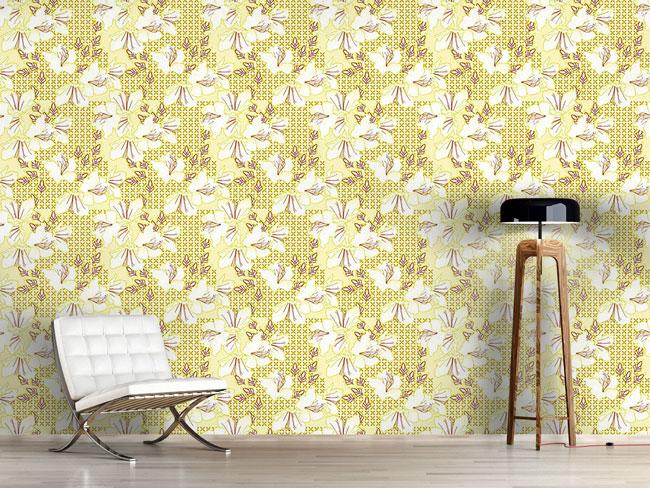 Designtapete Orientalische Blüten Vanille