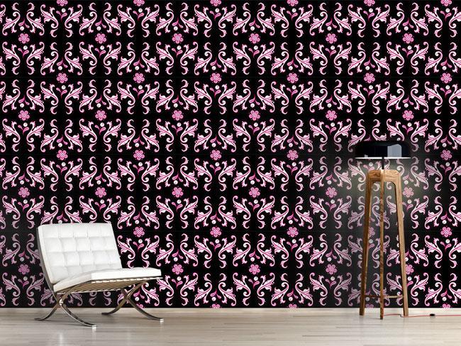 Designtapete Barocko Folk Pink