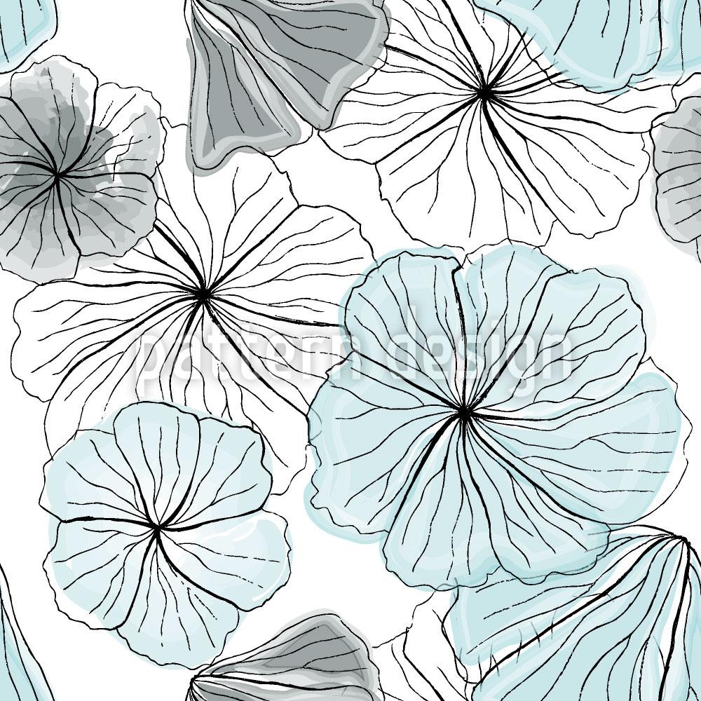 Designtapete Hibiskusblüten Aqua