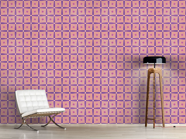 Designtapete Violas Patchwork Quilt