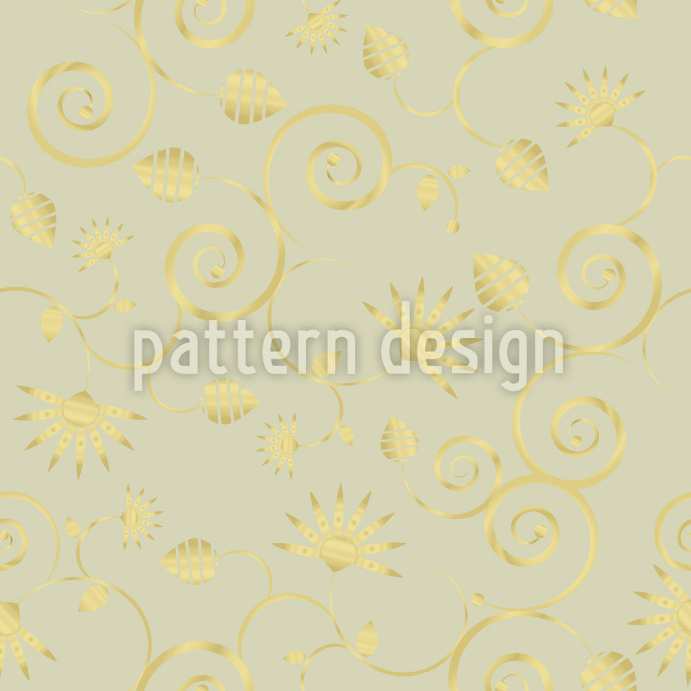 Designtapete Gold Flora
