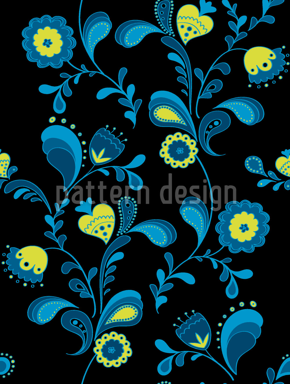 Designtapete Paisleyblumen Bei Mitternacht