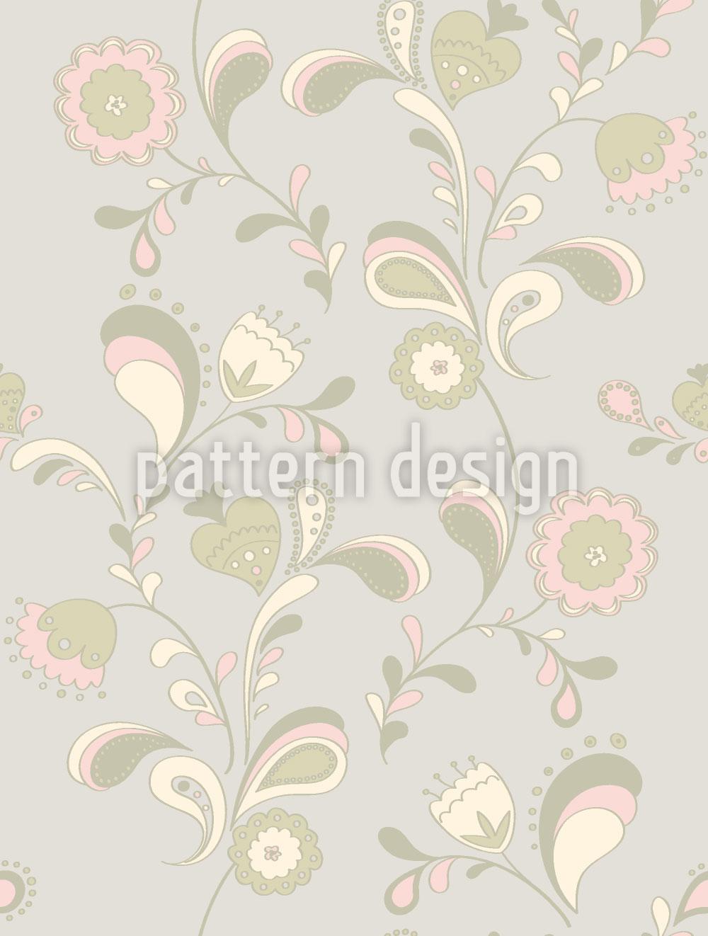 Designtapete Paisleyblumen Bei Tag