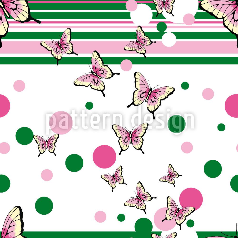 Designtapete Schmetterlinge Streifen Umher