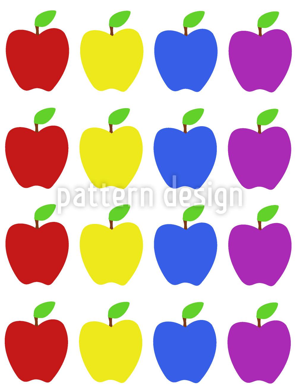 Designtapete Apfel Kunterbunt