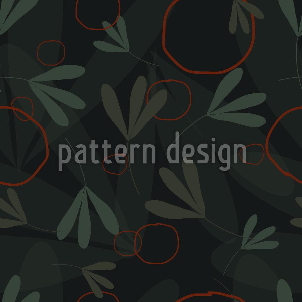 Designtapete Kreise Und Blätter
