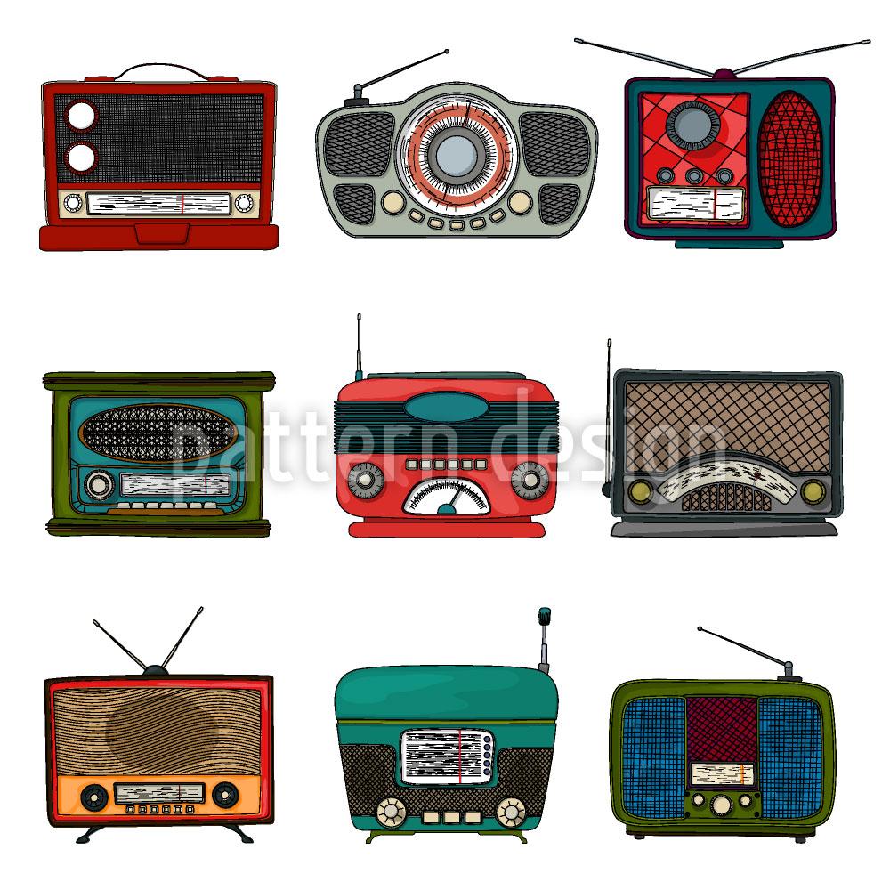 Designtapete Retro Radio
