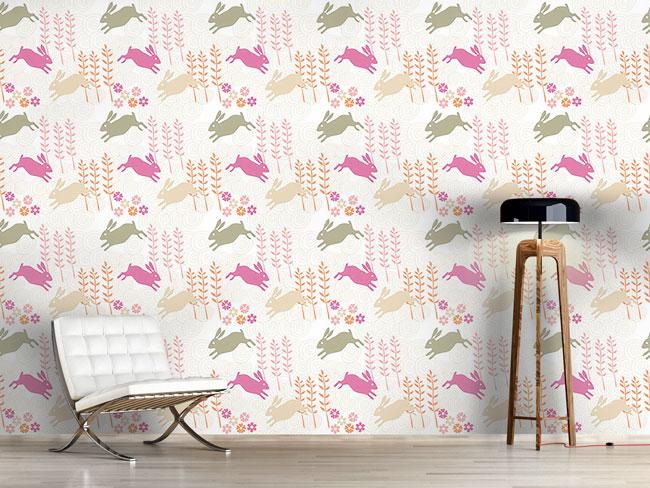 Designtapete Funny Bunny Hop