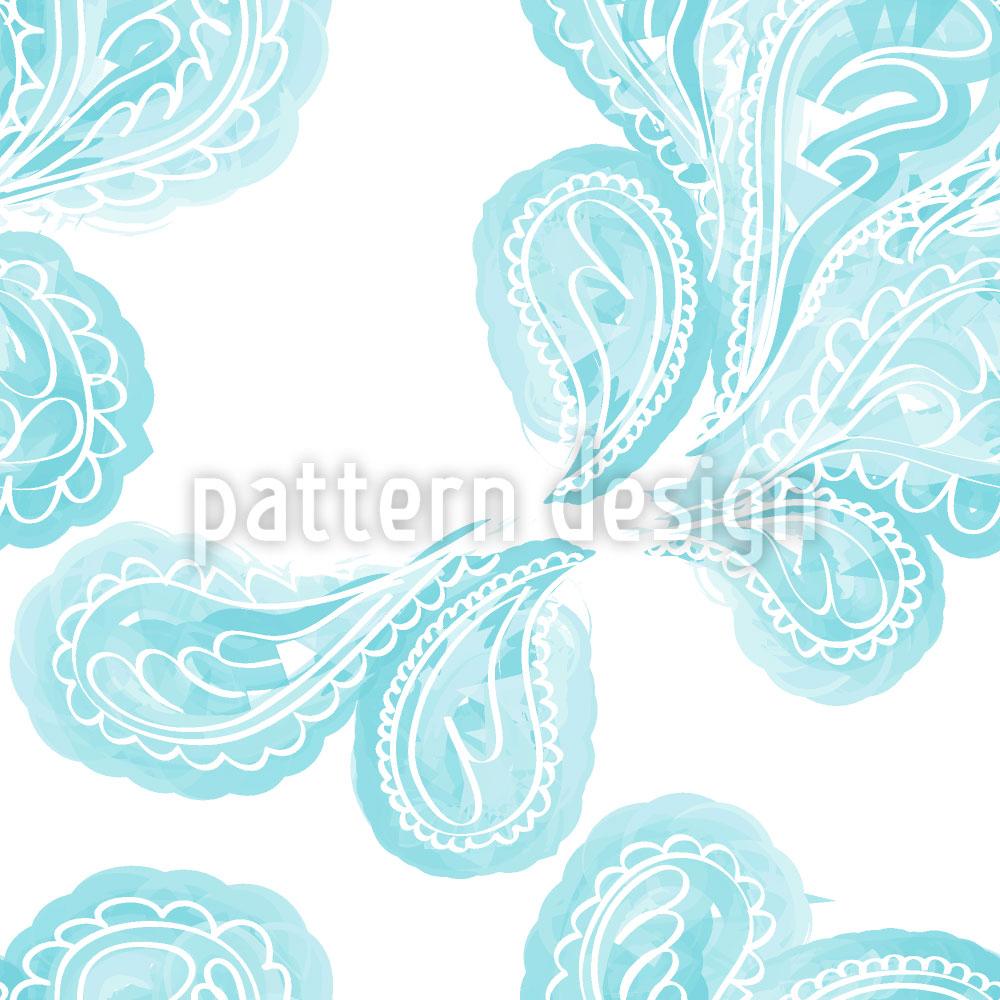 Designtapete Aqua Paisley