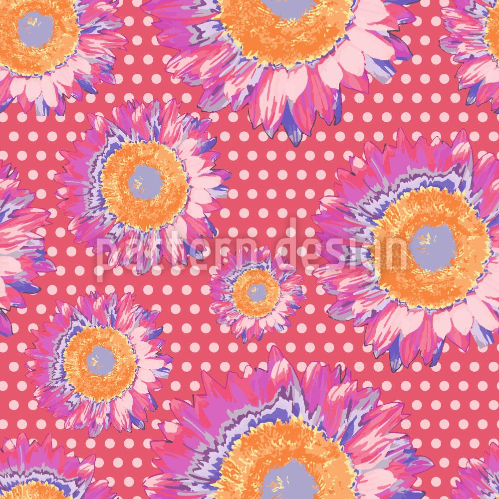 Designtapete Sonnenblumen Auf Polka Dot