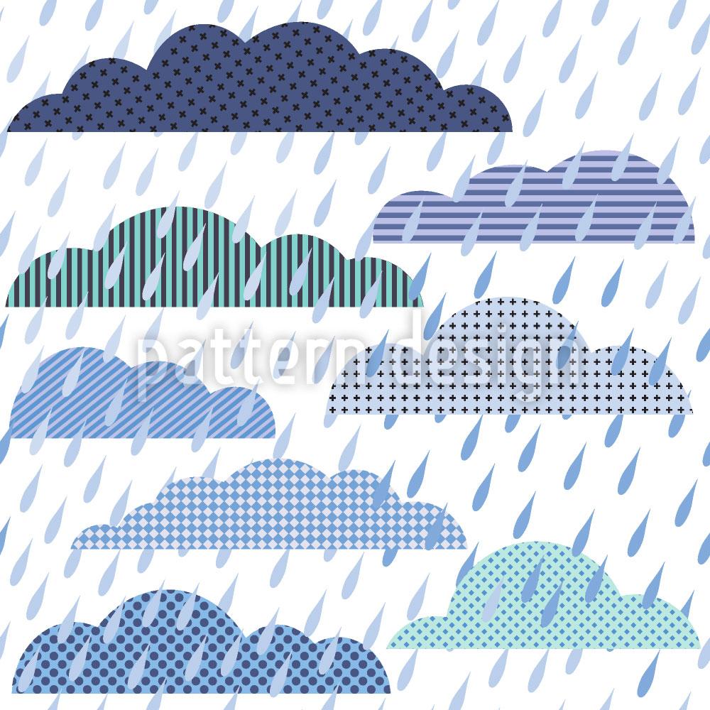 Designtapete Regenwolken Patchwork