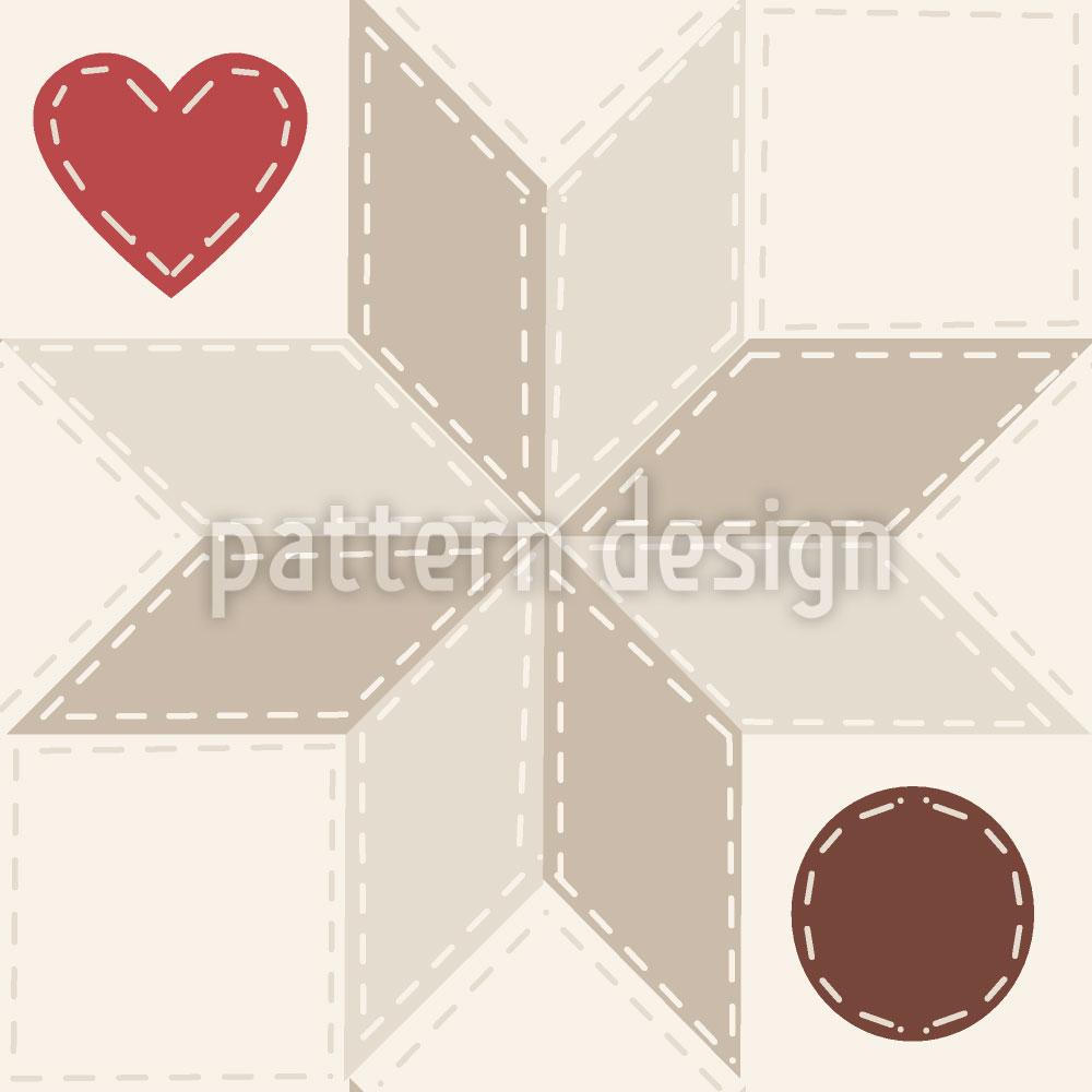 Designtapete Herzliches Stern Patchwork