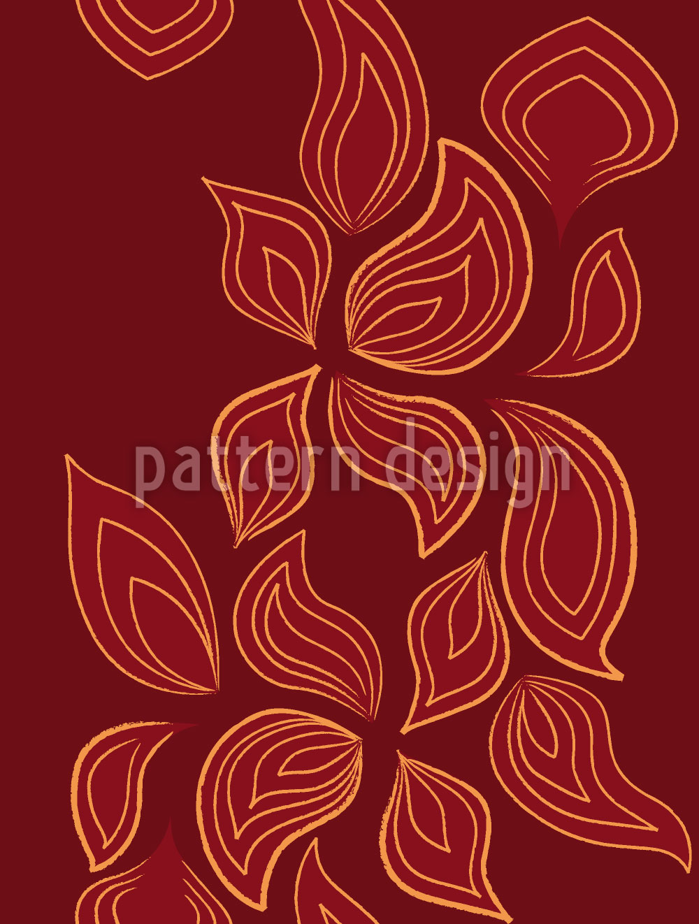 Designtapete Feurige Blätter