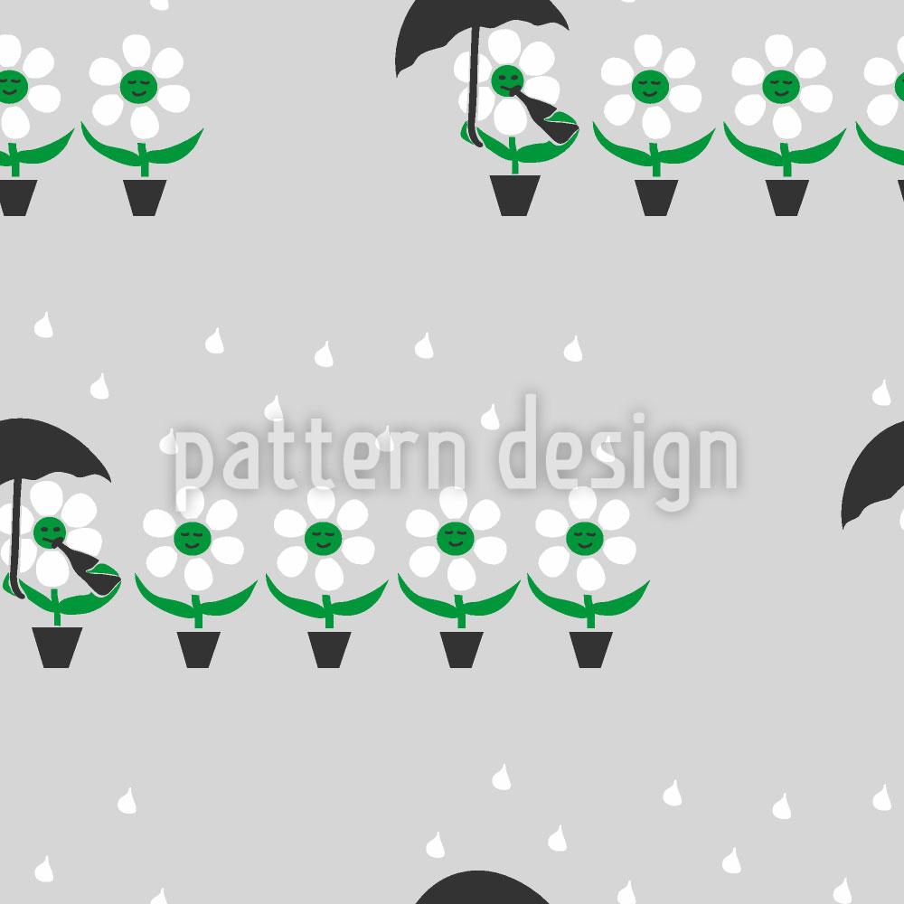 Designtapete Blumen Im Regen