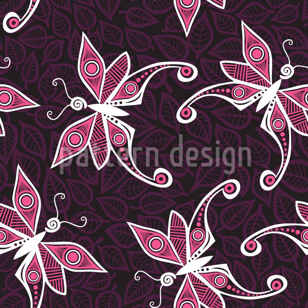 Designtapete Schmetterlinge Auf Blättern