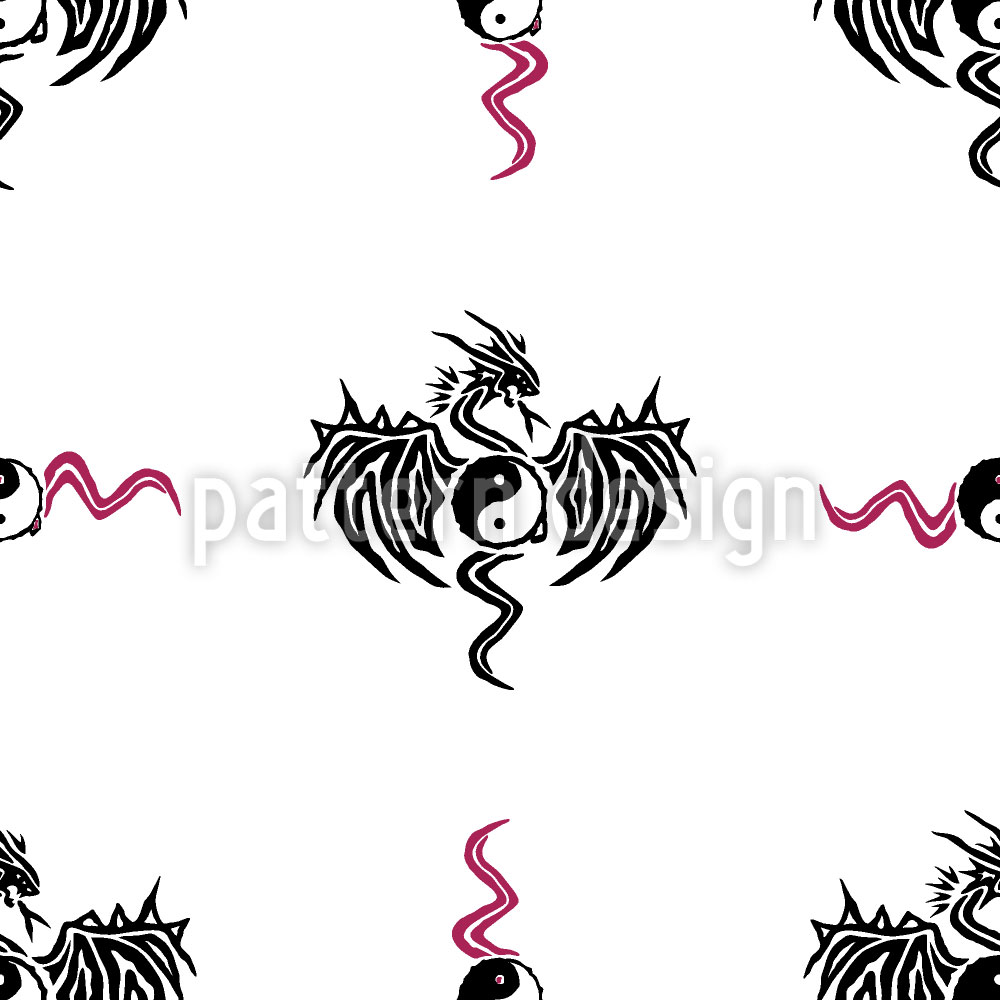 Designtapete Yin Yang Drache