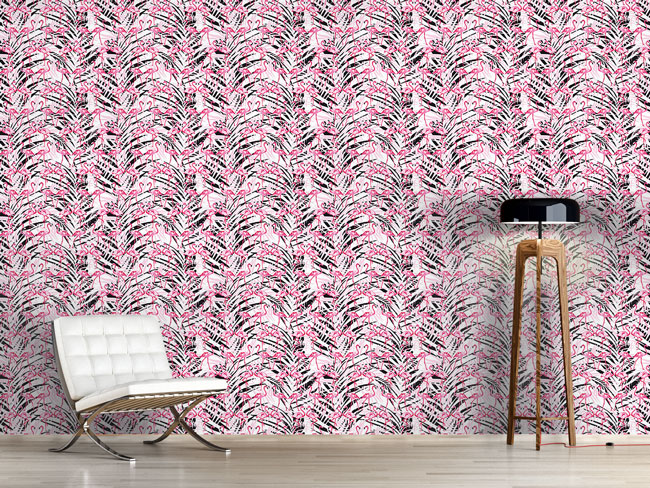 Designtapete Flamingos In Palm Beach