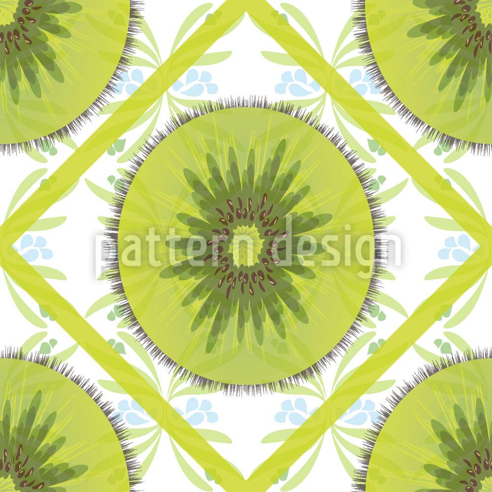 Designtapete Florales Kiwi Karo