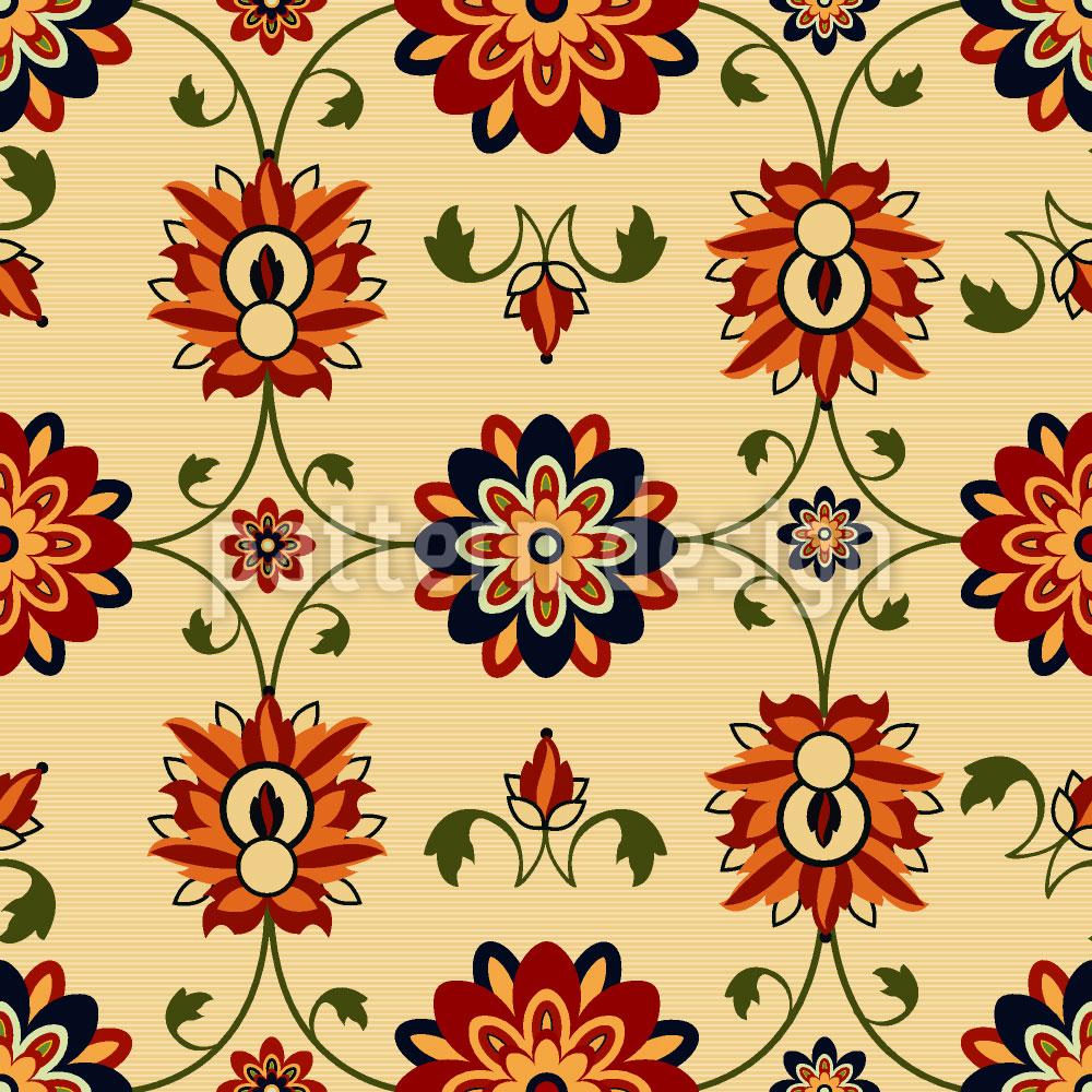 Designtapete Wandblumen Damast