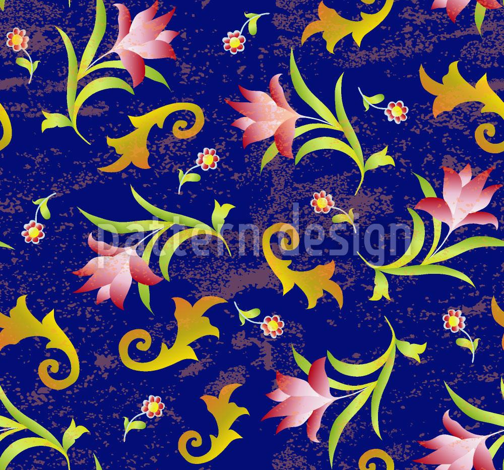 Designtapete Blumen Um Mitternacht