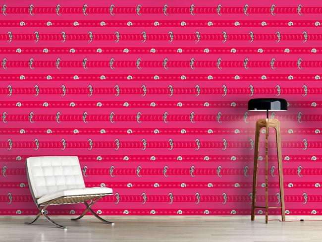 Designtapete Meerestiere Pink