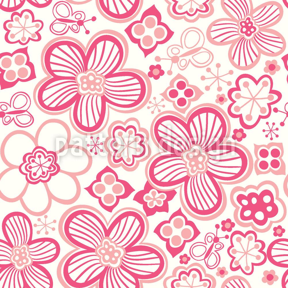 Designtapete Schmetterlinge Lieben Zuckerblumen