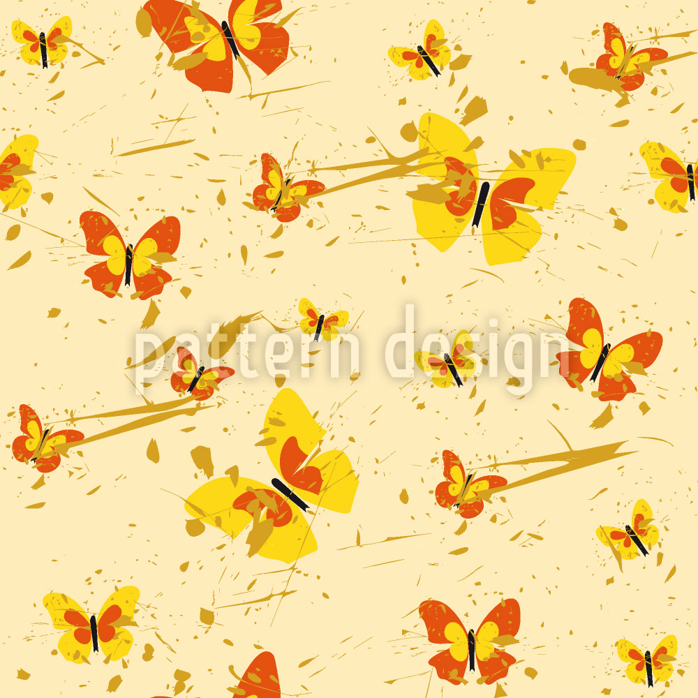 Designtapete Action Painting Schmetterling