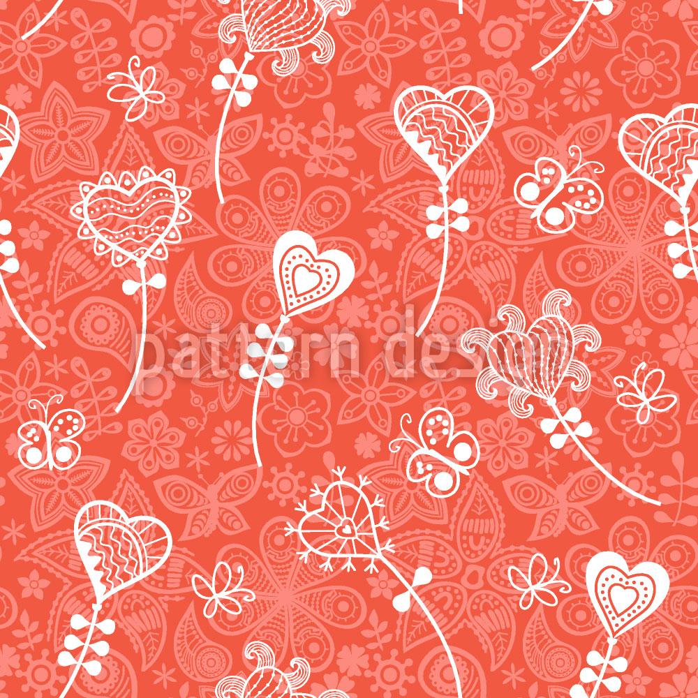 Designtapete Herzblumen Fantasie